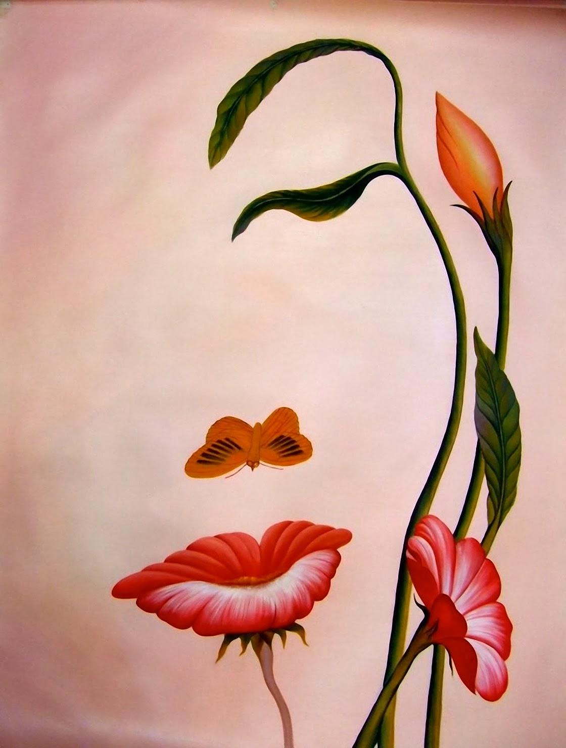 25 Gambar Lukisan Bunga dan Pohon High Resolution - Seni Rupa