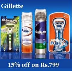 Gillette Products upto 15% off + 10% off on Rs.550