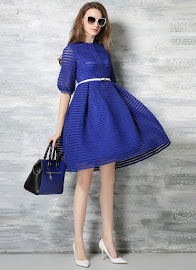 Half Sleeve Sleeve Striped Hollow-out Fluffy Dress