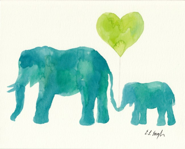 Original Watercolor Elephant Paintings by Elise Engh (Grow Creative)