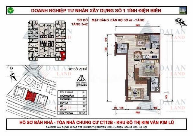 Căn 42 - Tòa CT12B Chung Cư Kim Văn Kim Lũ