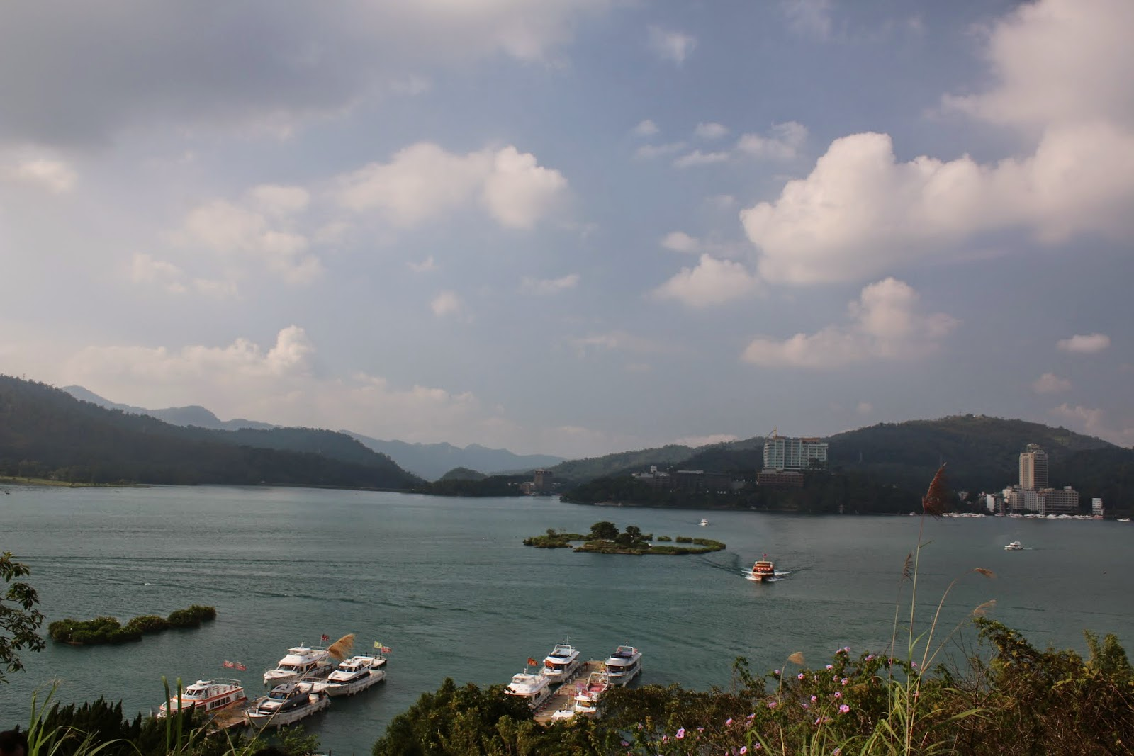 Beautiful scenic view of Sun Moon Lake from the top hill of Syuanguang Temple in Taiwan