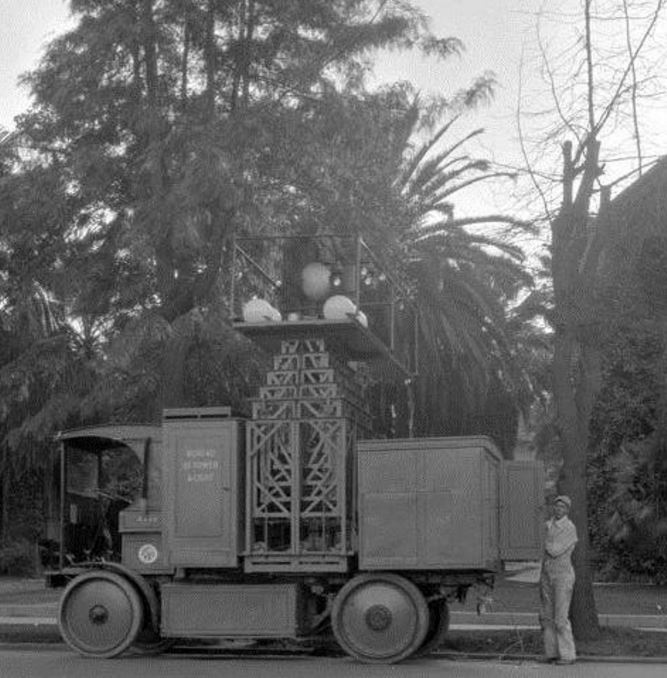 Amazing Electric Powered Street Light Trucks Used By The Bureau Of Power And Light.