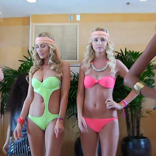 DiNeila brazil bikini 2012 - aszimmetrikus trikini és pink pánt nélküli bikini