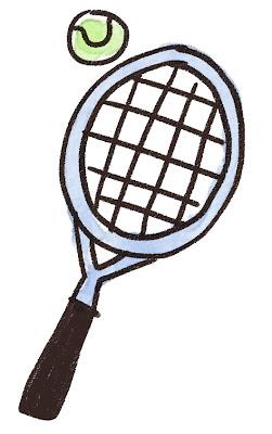 テニスラケットとボールのイラスト(スポーツ器具)