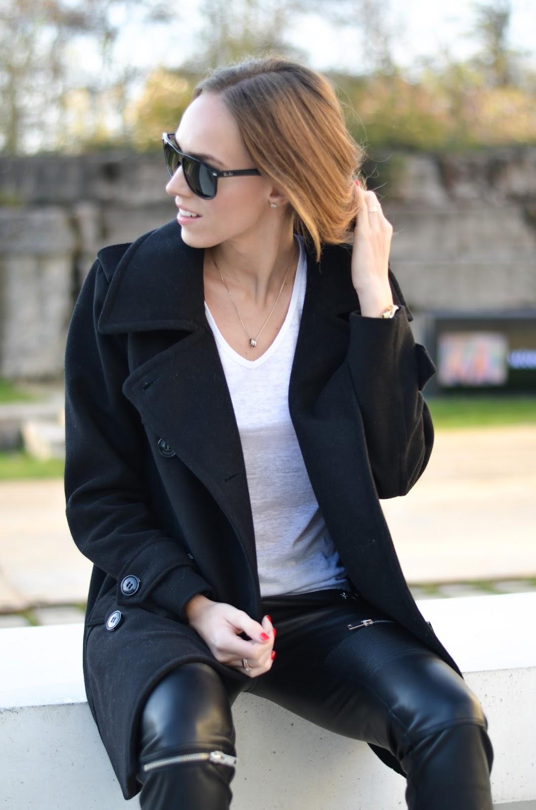 kristjaana mere minimal fashion white v neck tee peacoat leather pants