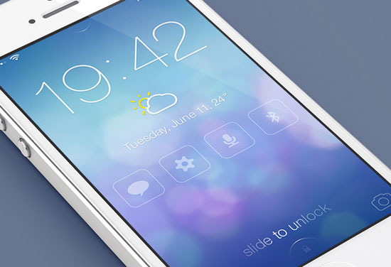 iOS 7 Lock screen – Redesign by Mariusz