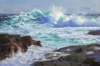 step 2, seascape oil painting by andy dolphin