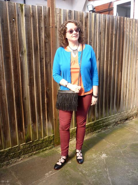 Burgundy Jeans, Orange Tee, Cobalt Blue Cardigan | Petite Silver Vixen