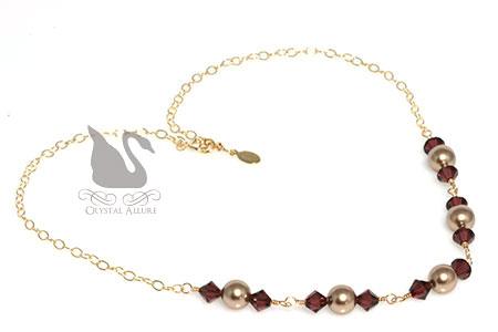 Lauren's Custom Crystal Pearl Bridesmaids Necklaces (NC139)