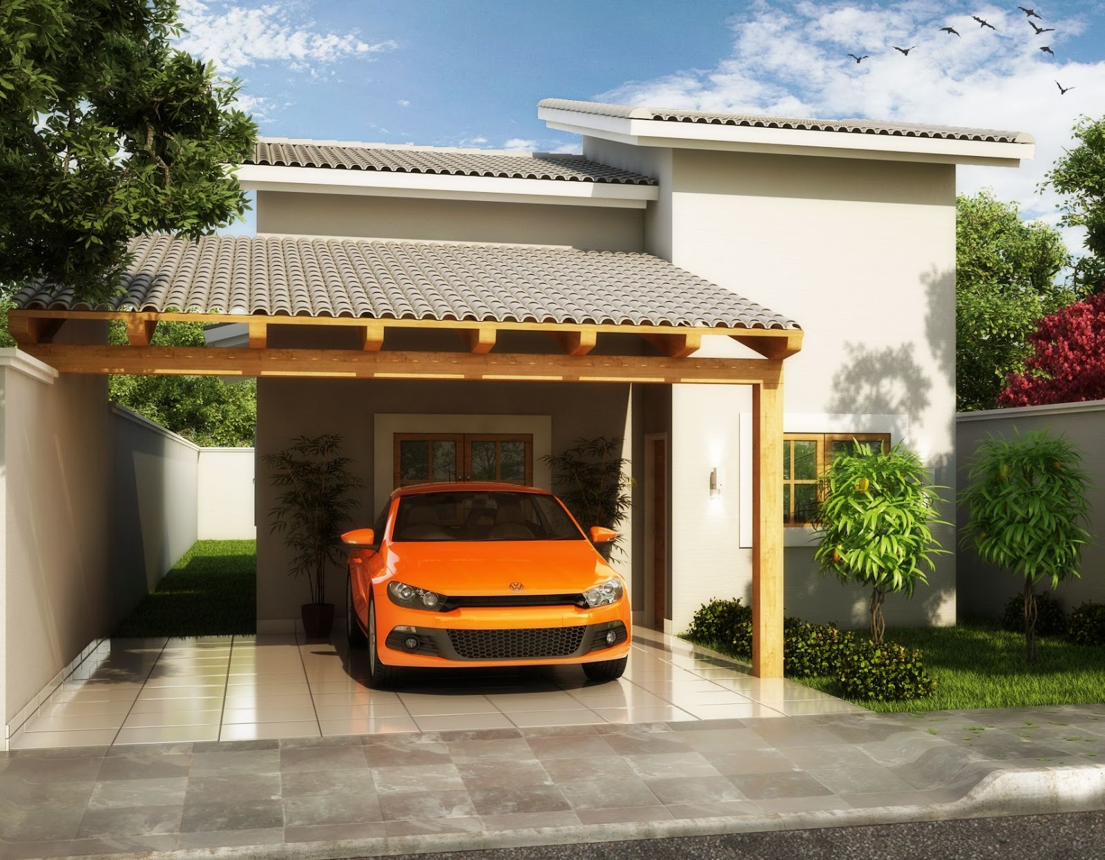 #B55F16 Só Projetos Grátis: Projeto grátis de uma casa com 76 M² 1600x1245 px Projetos De Casas Com Cozinha Nos Fundos #187 imagens
