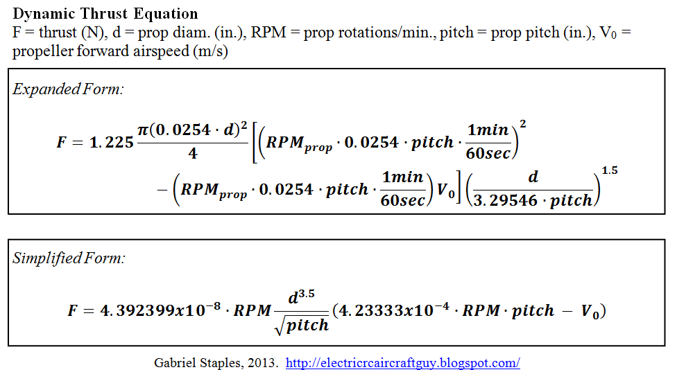 Propeller Static Dynamic Thrust Calculation Flite Test