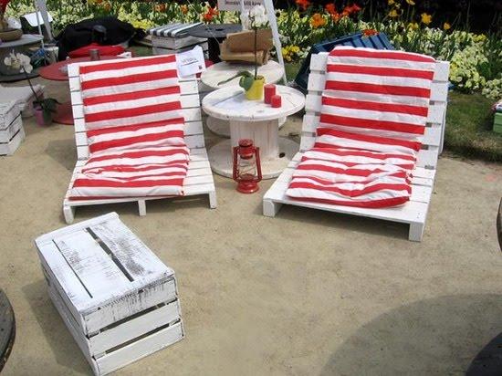 Para el exterior sillones de palets y mesas de bobina de for Sillones de palets para exterior