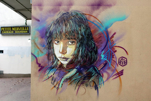 Two new Street Art Pieces by French Stencil Artist C215 On the streets of Paris, France. 2