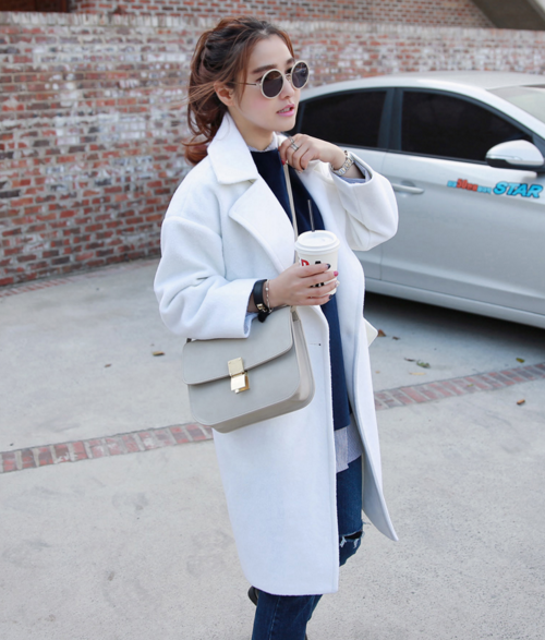Single Button Notched Lapel Coat