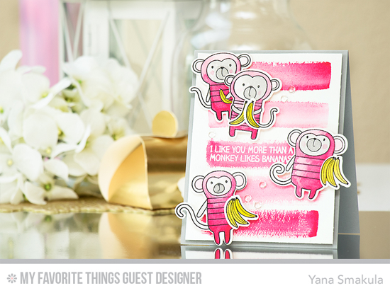 Monkeys Like Bananas Card by Yana Smakula featuring the Cheeky Monkey stamp set and Die-namics #mftstamps