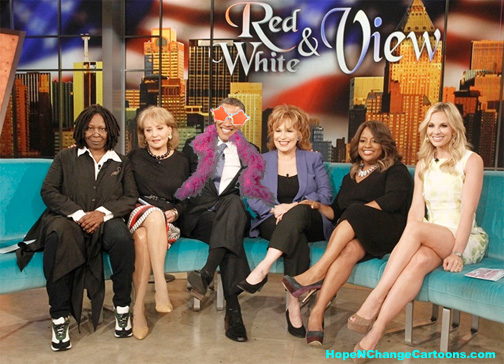 Barack Obama visits The View to explain that he's not going to do a damn thing about gay marriage but feels bad about it