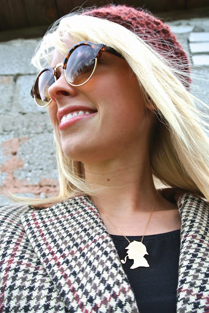 Charlotte Russe lace up combat boots, H&M tweed blazer, ZeroUV steampunk sunglasses, the savant shop etsy beret, Jools Sherlock Holmes necklace, Christmas, shopping, gifts, holidays, style blogger