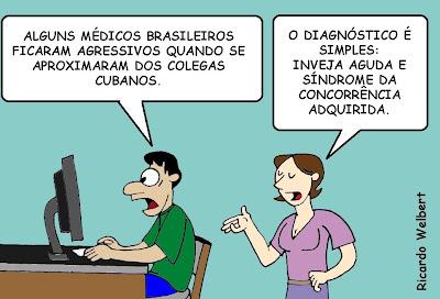 """Com título de """"médicos importados"""", charge publicada no Agora de 29 de agosto de 2013 aborda reação de médicos brasileiros à contratação, pelo governo federal, de profissionais estrangeiros."""