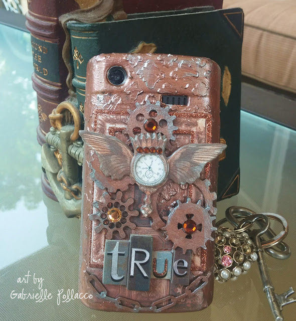 Mixed Media Phone cover by Gabrielle Pollacco using Bo Bunny Penny Emporium collection and mixed media products