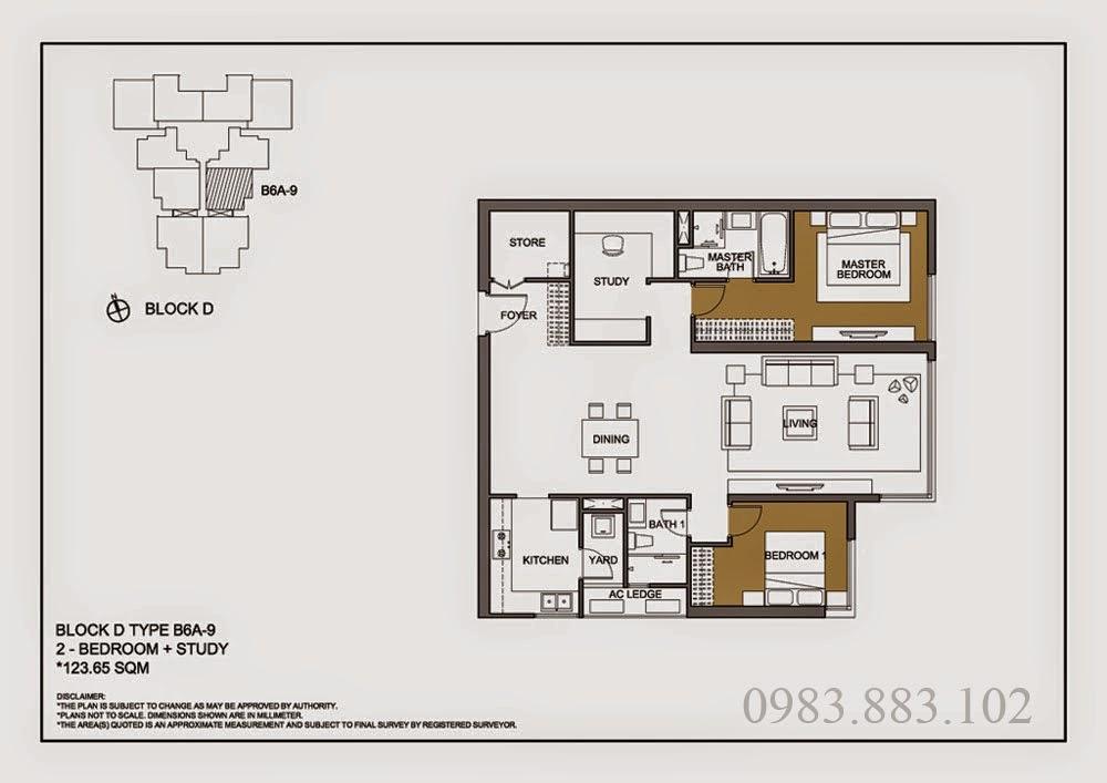 Thiết kế căn B6A-9 Chung cư Mulberry Lane