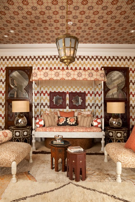 Moroccan inspired bedroom by Martyn Lawrence Bullard with upholstered walls