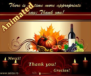 Tarjeta postal animada para celebrar el Día de Acción de Gracias