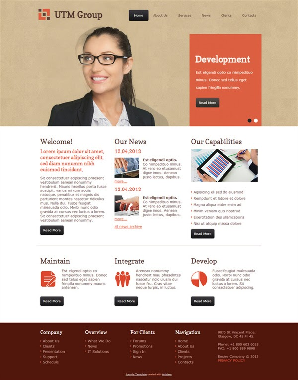 UTM Group - Free Joomla! Template