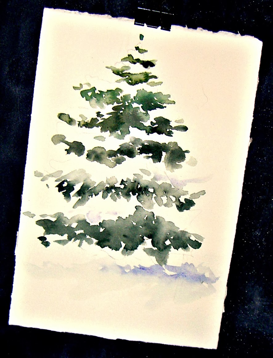 In and out of the studio snow covered pine for Painted christmas cards