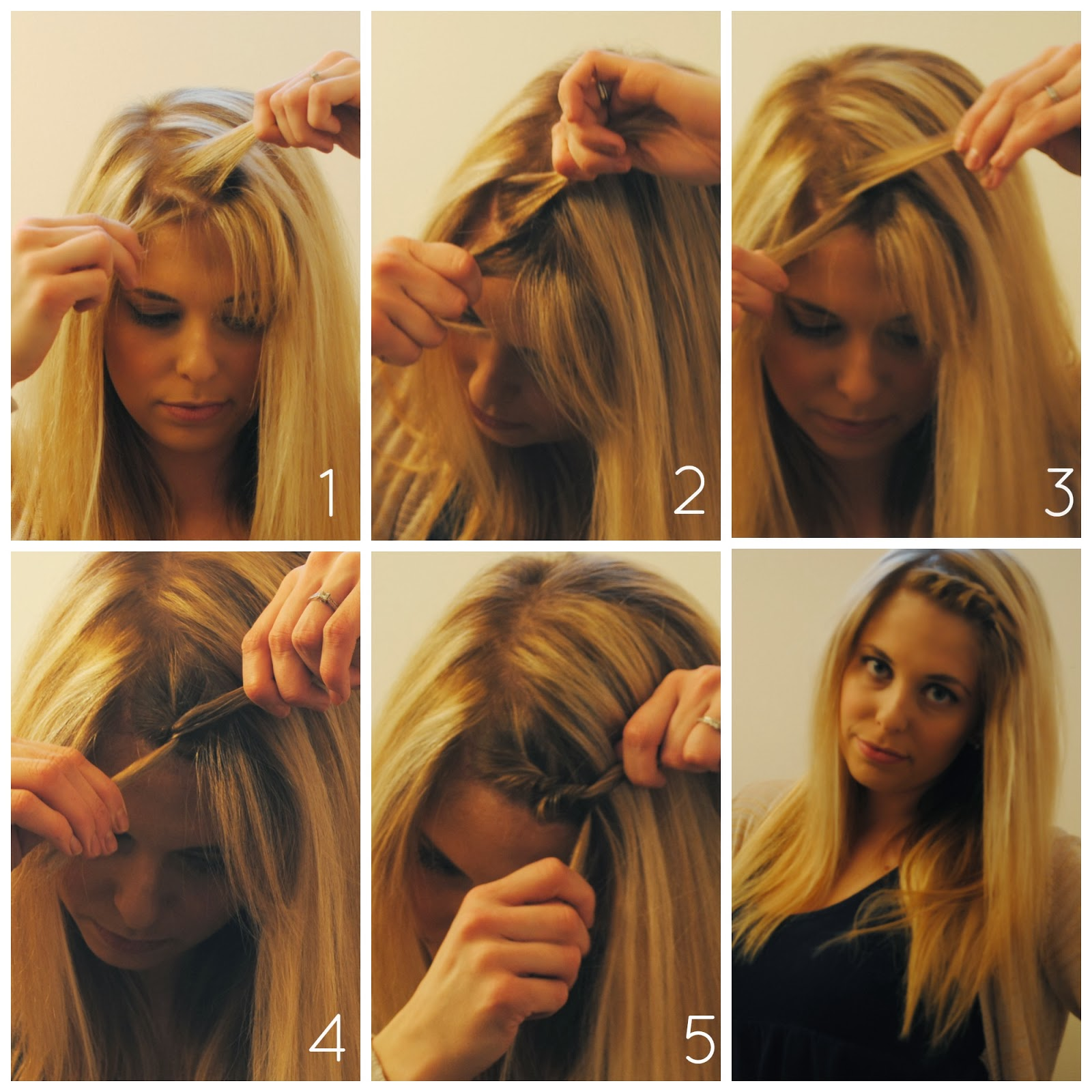Sequins and scissors how to style your bangs when growing them out start with parting your bangs into 2 vertical sections 2 twist the bottom section over the top 3 now the original top section is on the bottomab an urmus Image collections