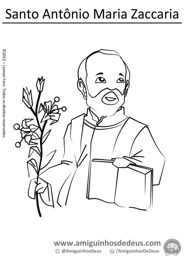 Santo Antônio Maria Zaccaria desenho para pintar colorir