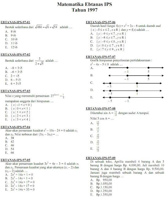 Matematika Di Sma Soal Ujian Nasional Un Matematika Ips Sma Ma 1997