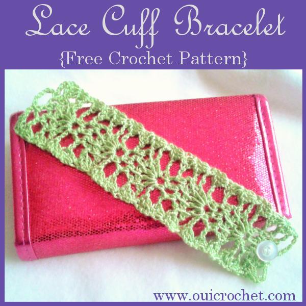 Oui Crochet Lace Cuff Bracelet Free Crochet Pattern