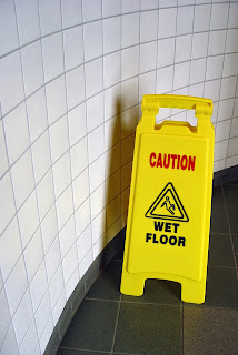 Caution Wet Bathroom Floor