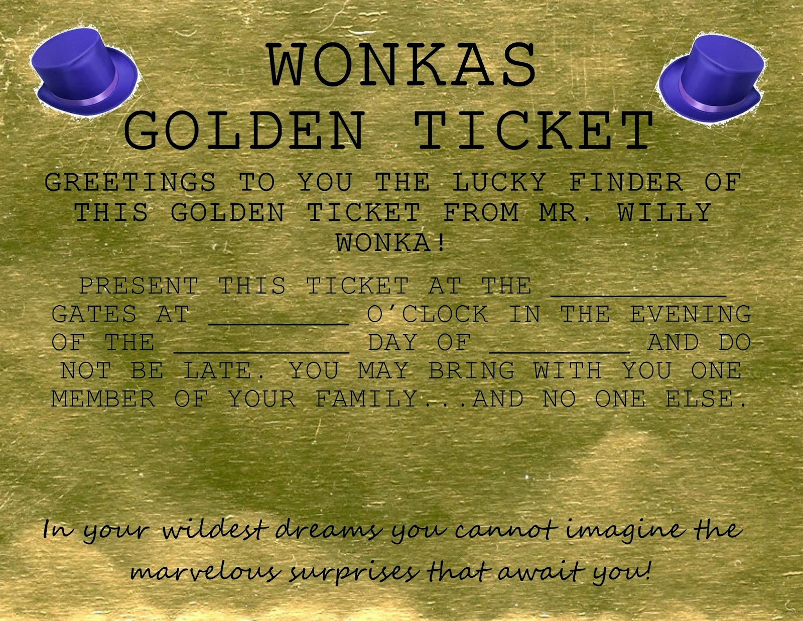 Golden Ticket Printable Template Golden ticket free printable