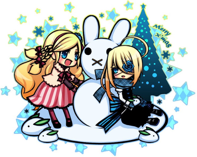 chibi twins, chibi Christmas, Christmas anime wallpaper