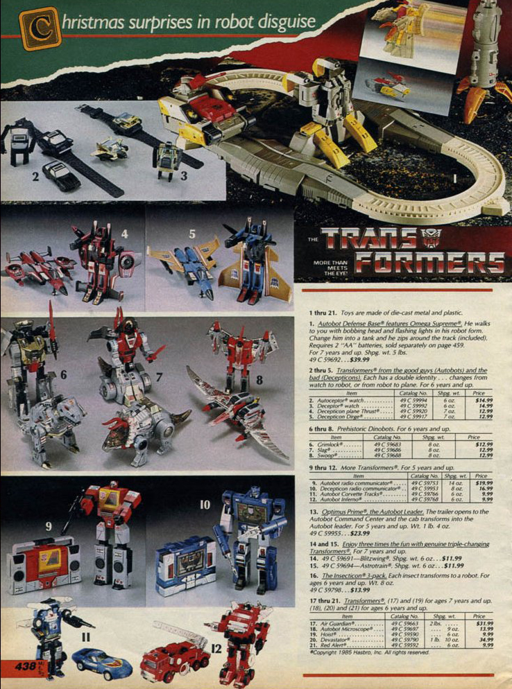 Toys At Sears : The dork review transformers sears christmas catalog