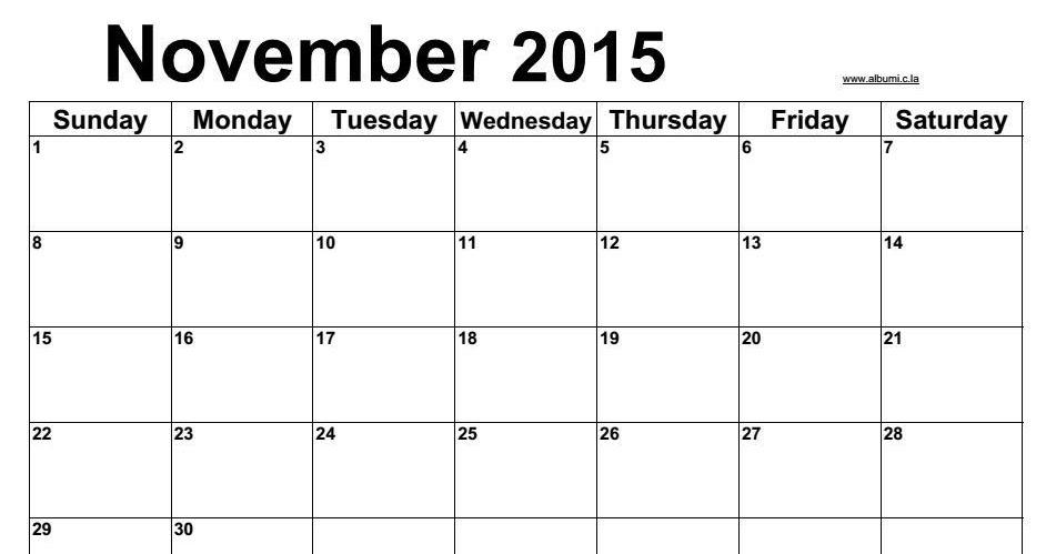 Blank calendar November 2015 with notes 2016 Blank Calendar