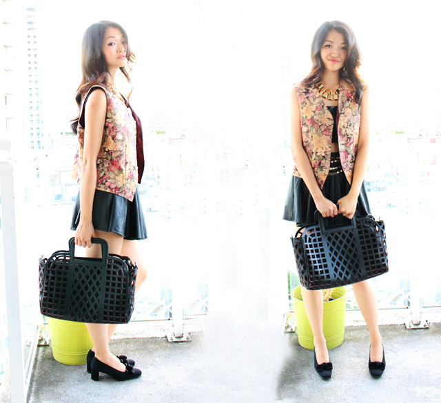 Vancouver Fashion blogger Jasmine Zhu wearing leather croptop and leather skater skirt with gold accent jewelery and vanlaced avenue bag and floral vest, fall transition outfit