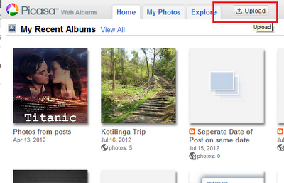 picasa web album homepage upload button
