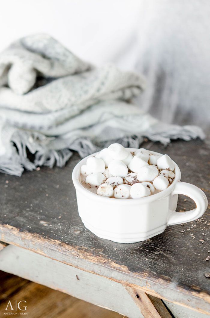 Enjoy a mug of this indulgent peanut hot chocolate this winter!  ||  www.andersonandgrant.com