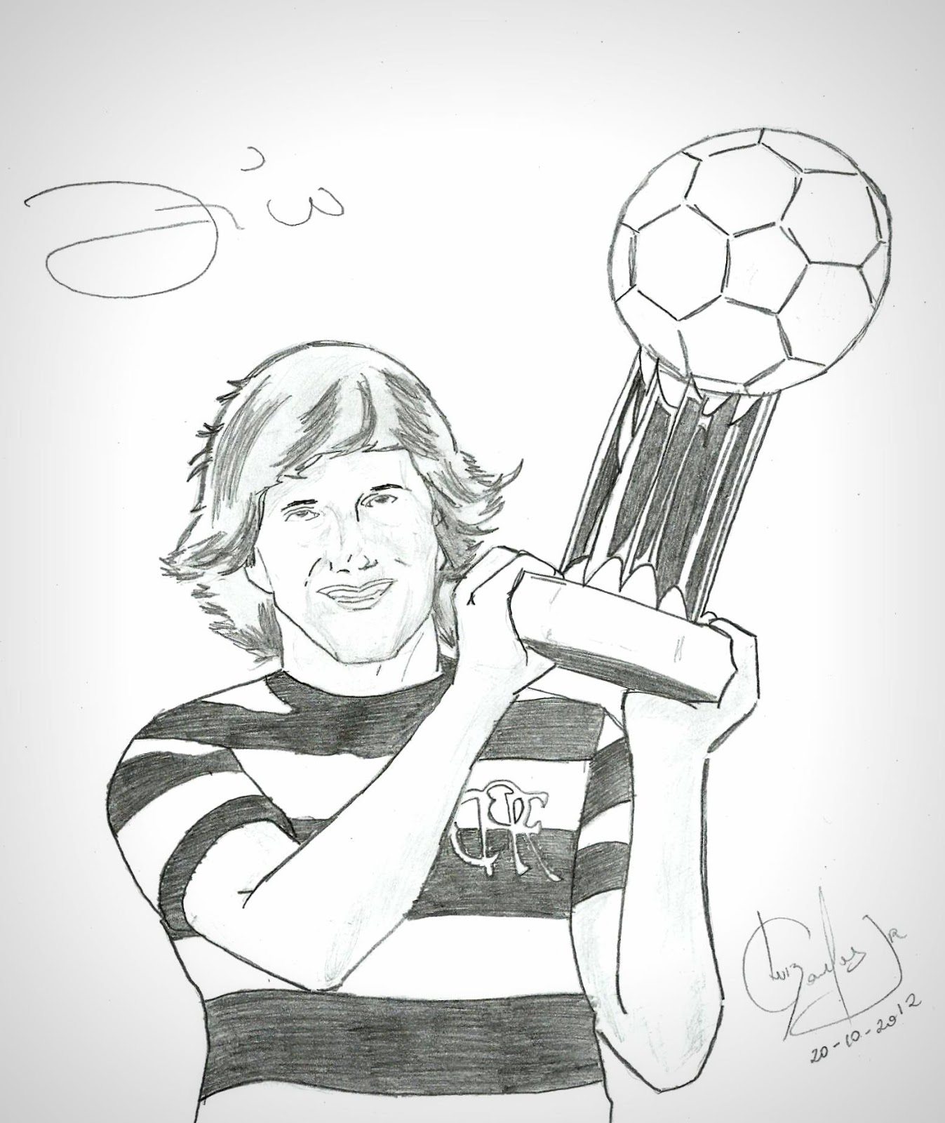 Jogador de futebol segurando troféu (desenho)