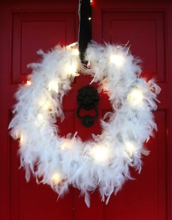 feather wreath, red door, Christmas wreath, porch decorations