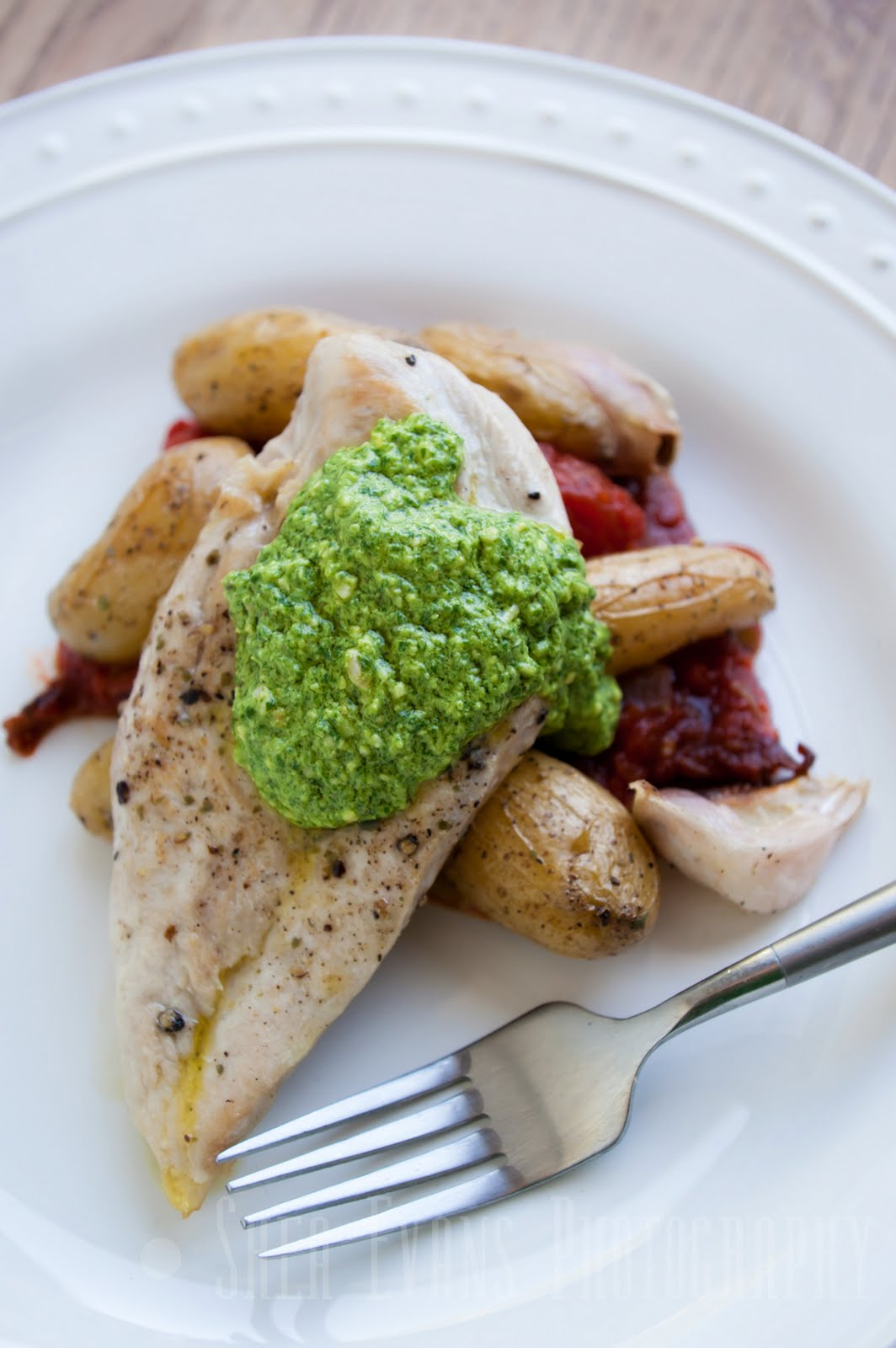 Roast Chicken Breast with Arugula Goat Cheese Pesto on Roasted ...