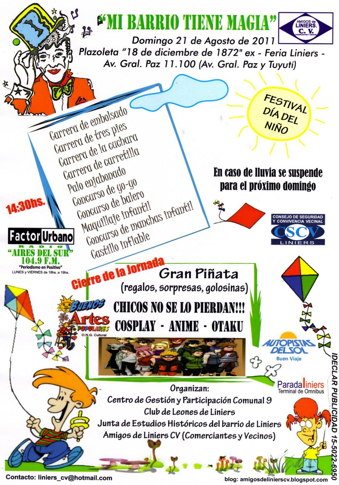 Festival dia del Niño mi Barrio tiene magia en Liniers | Amigos De ...