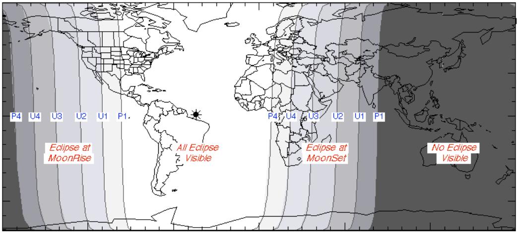Ngày và đêm vào lúc xảy ra nguyệt thực ngày 28/9/2015. Việt Nam sẽ không quan sát được lần nguyệt thực toàn phần này. Đồ họa : NASA.