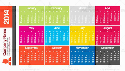 2014 Pocket Calendar -Metro Style Template back
