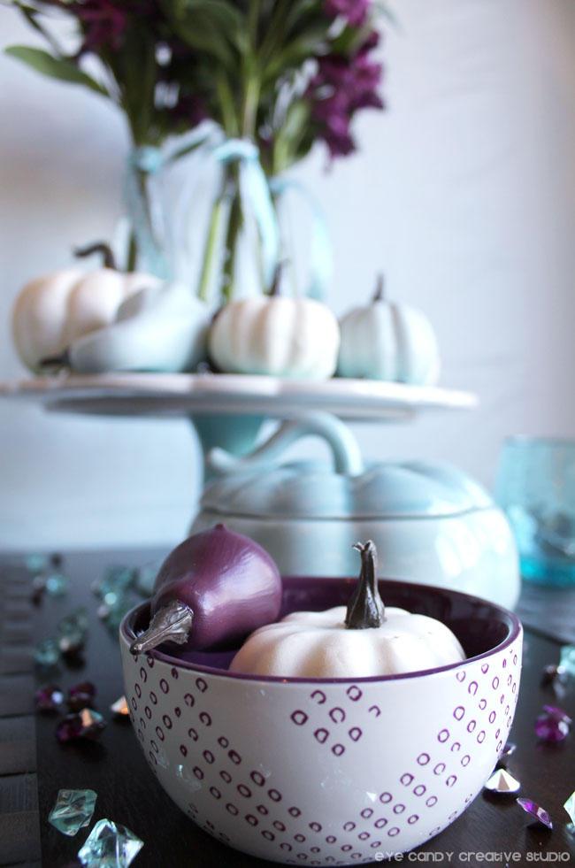 Target bowls, cake stand thanksgiving table ideas, plum & blue table
