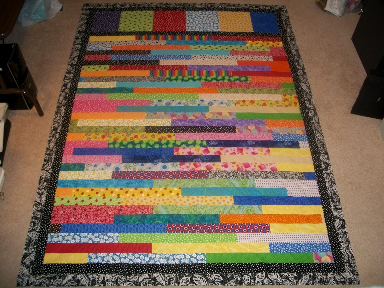 Sew Cook and Travel: 2012 Rainbow Scrap Challenge Strip Quilt Top