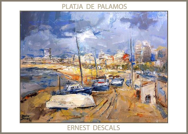 PALAMOS-PINTURA-PAISATGES-CATALUNYA-MARINA-PLATJA-GIRONA-QUADRES-PINTOR-ERNEST DESCALS--